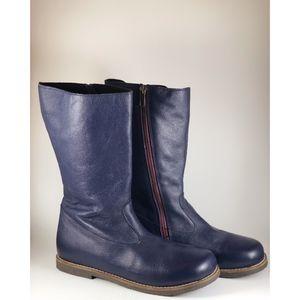 💙 Mini Boden Girls Leather Navy Indigo Sz 37 5Y
